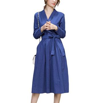 Busur Sabuk Kerja Ramping Warna Murni Lengan Panjang V Neck Pocket Wanita Midi Dress