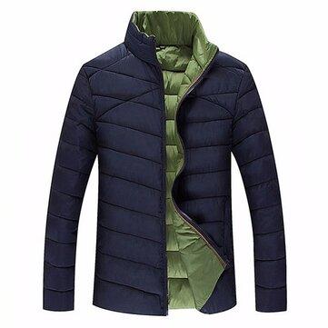 पुरुषों प्लस आकार एस -6 एक्सएल शीतकालीन गर्म जिपर स्टैंड कॉलर गद्देदार जैकेट