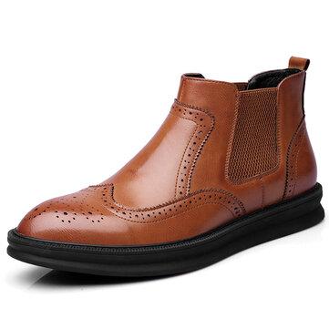 Cómodo Brogue Style Tobillo Botas Classic Elástico Banda Piel Genuina Botas para hombres