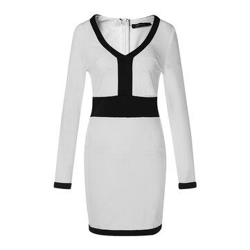 女性Vネックのバックジッパーパッチワークロングスリーブドレス