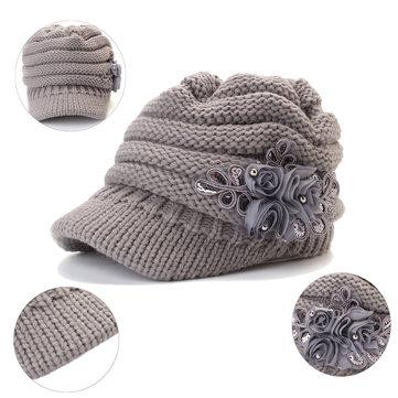 Women Winter Warm Woolen Yarn Flower Hat Outdoor Windproof Good Elastic Hat