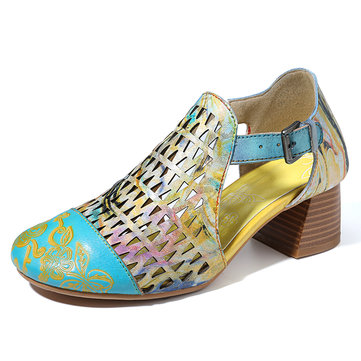 Socofy Large Size Women Floral Hollow Out Luminous Heeled Sandals