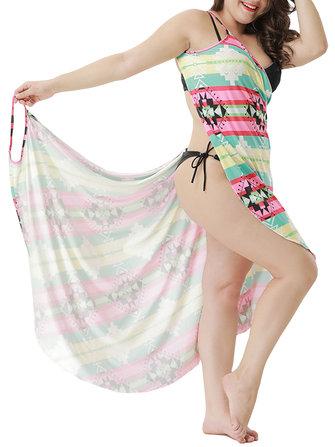 Plus Size Soft Multi-way Wear Printed Swimwear Cover-Ups Beach Sun Protection Clothing