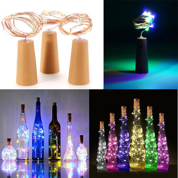 200CM Battery Powered Cork Copper Wire LED Wine Bottle HoliDay Light Lamp for Xmas Party