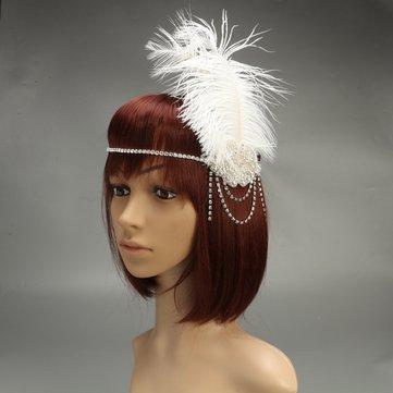 Trendy White Flapper Diadema Rhinestone pluma Gatsby Hairband Headpiece para Mujer
