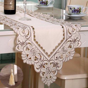 Retângulo flor toalha de mesa corredor com festa de casamento borla esteira festival decoração
