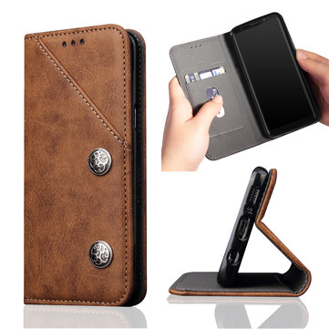 Flip Bracket Card Slot PU Leather Protective Case for Samsung Galaxy S9 Plus