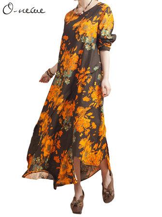 प्लस साइज महिला पुष्प मुद्रित पैचवर्क अनियमित ए-लाइन ड्रेस