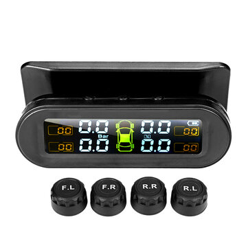 TPMS Realtime Car Tire 4 Solar Sensors Wireless Tyre Pressure Monitoring