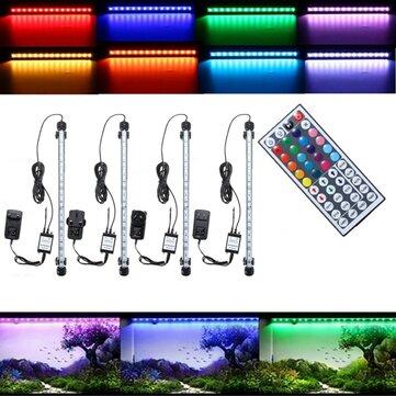 38CM 5.9W RGB LED Aquarium Fish Tank Light SMD5050 Color Changing Bar Submersible Lamp + Remote Control AC110 240V