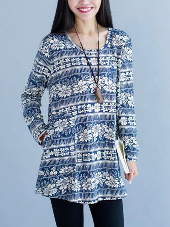 विंटेज प्रिंटिंग लंबी आस्तीन लूज महिला मिनी ड्रेस