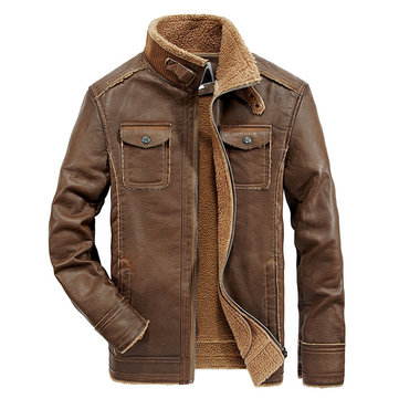 How can I buy Mens PU Faux Leather Jacket Fleece Lining Thick Warm Shearling Coat with Bitcoin