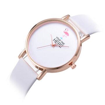 Gaya Kasual Wanita Wrist Watch Rose Gold Case Kulit Strap Quartz Perhiasan