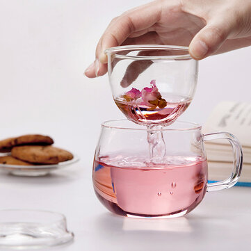 320ml Heat Resistant Transparent Glass Cup Tea Cup With Lid Infuser Filter