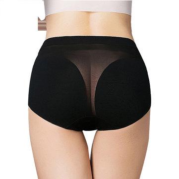 प्लस आकार पारदर्शी जाल अंडरवियर उच्च कमर कपास सांस लेने योग्य हल्के रंग पैंटी
