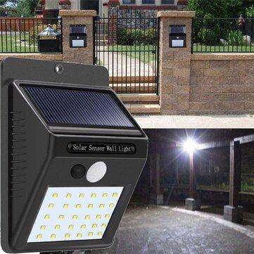 Solar Power 30 LED PIR Motion Sensor Dinding Cahaya Waterproof Outdoor Path Yard Garden Security Lamp