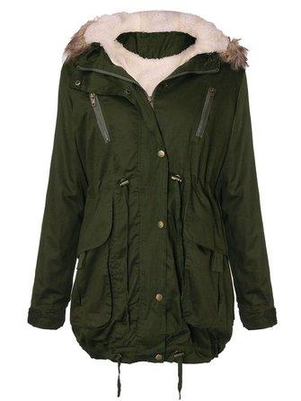 Women Thick Fleece Warm Faux Fur Coat Zip Hooded Parka Jacket