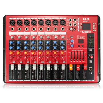 EL M SMR801 8 Channel Professional bluetooth Karaoke KTV Audio Sound Mixing Mixer Amplifier