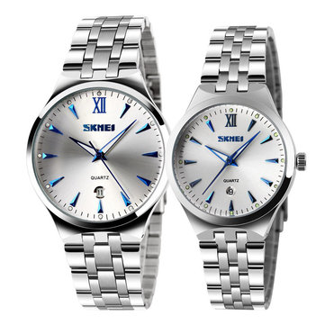 SKMEI 9071カップル腕時計ファッション光るシンプルなスタイルの恋人クォーツ腕時計
