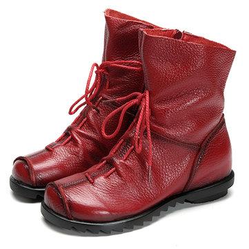 SOCOFY גודל גדול עור צבע טהור צבע תחרה עד רוכסן Zipper Soft Boots