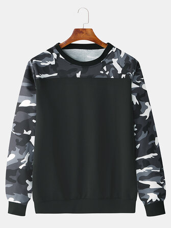 Buy Men Fashion Casual Color Block Camouflage Elastic Hem Crew Neck Sweatshirt  with Litecoins with Free Shipping on Gipsybee.com