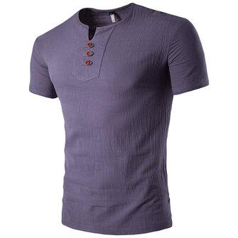 ग्रीष्मकालीन पुरुषों आरामदायक वी-गर्दन बटन कपास लिनन टी शर्ट लघु आस्तीन शीर्ष Tees