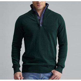 पुरुषों आरामदायक कैट टर्न-डाउन कॉलर स्वेटर ठोस रंग नीचे स्लिम लंबी आस्तीन पुलओवर