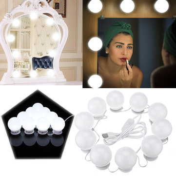 10W USB Touch Control LED Vanity Hollywood Style Makeup Mirror Party Light Bulb for Home Decor