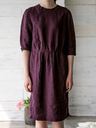 Vintage Kadın Zarif Gevşek Elastik Bel Pure Color 3/4 Kollu Elbise