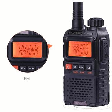 BAOFENG UV3R Plus Mini Walkie Talkie Intercom UHF VHF Dual Band Dual Display Full Channels FM Radio Flashlight