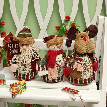 Christmas Santa Claus Snowman Deer Stuffed Doll Standing Decoration Table Ornament