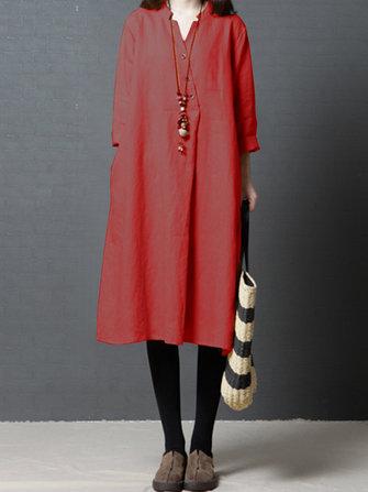 Bayan Casual Katı Düğme V Boyun Uzun Pamuklu Gömlek Elbise