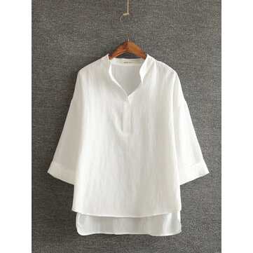 Casual Women Cotton Linen Solid Color Stand Collar 3/4 Sleeve Tops