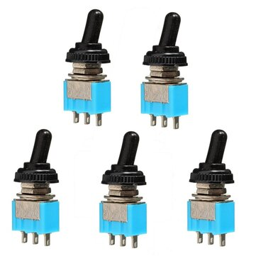 5Pcs 125V 6A ON/ON 3 Pin SPDT Toggle Switch With Waterproof Cover Cap