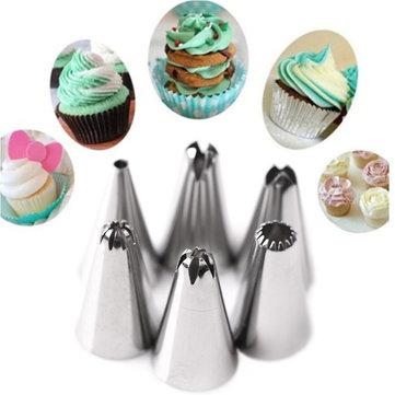 797.665 KC-PN15 7pc / set Silicone Pasta pasticceria crema ugello per tubi di ghiaccio Borsa Set ugelli in acciaio inox Pasticceria decorazione torta DIY