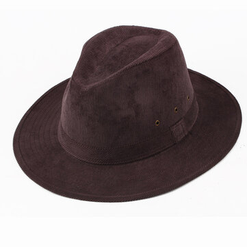 Men Winter Warm Cotton Wide Brimmed Top Hat Casual Middle Aged Jazz Cap Fedora Hat