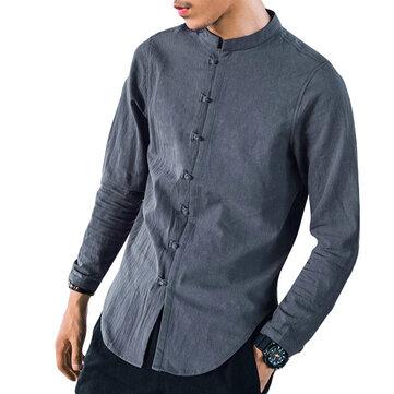Vintage Linen Kinesisk stil Archaic Frog Button Casual Långärmade T-shirts för Herrar