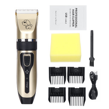 Professional Pet Cat Dog Cordless Clipper Grooming Electric USB Rechargeable Hair Trimmer Kit W/ Combs and Sponge