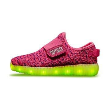 Kids USB LED dạ quang Trọng lượng nhẹ Sneakers sáng lên Giày Colorful Flash Giày