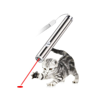 Loskii PT-30 Electronic Pet Toys Cat Interactive Training Toy Red Laser Pointer With LED Flashlight
