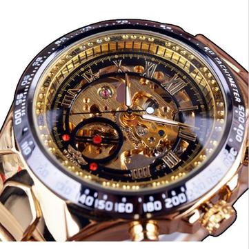 WINNER אופנה זוהר הרומית מספרים מספרים מכניים שעון יוקרה הזהב גברים שעונים אוטומטיים