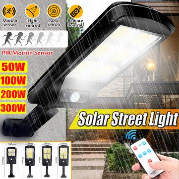 Solar Powered Led Cob Street Light Pir, Remote Motion Sensor For Outdoor Lights