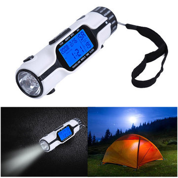 Portable Travel World Time Alarm Clock Electronic Calendar Multifunction LED Light Torch LCD Display