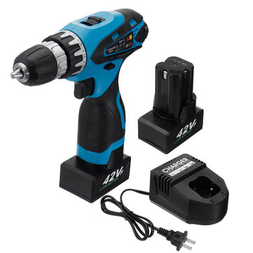 42V 9000mAh Electric Cordless Drill Driver LED 2-Speed Screwdriver W/ 1 or 2 Li-Ion Battery