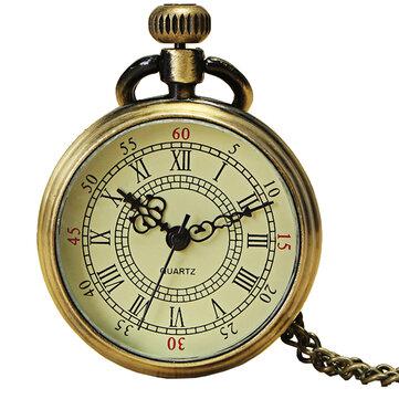 DEFFRUN Vintage Bronze Roman Number Chain Pocket Watch