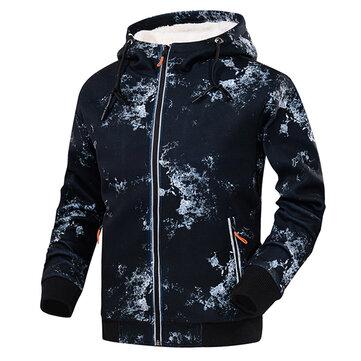 Men's Thick Sportswear Hoodies Solid Color Casual Zipper Tops Sweatshirts