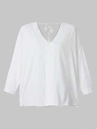 सेक्सी लूज महिला वी गर्दन बैकलेस व्हाइट शिफॉन टी-शर्ट