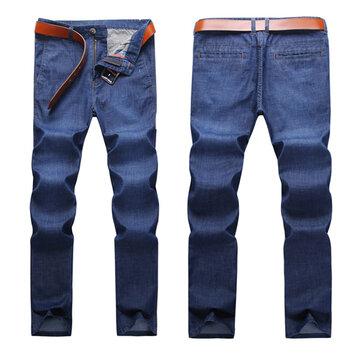 पुरुषों के लिए आरामदायक व्यापार सीधे पैर उच्च लोचदार ठोस रंग पतला लूज जींस
