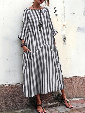 Women 3/4 Sleeve O Neck Casual Loose Stripe Long Maxi Dress