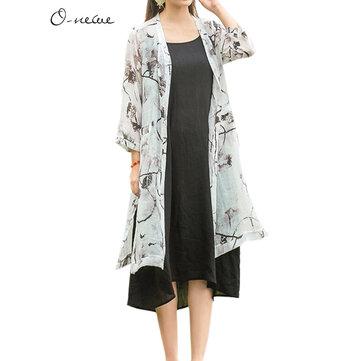 Vintage Women Ink Printing Pocket Split Kimono Cardigans